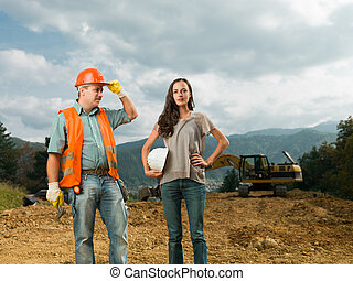 colleagues on construction site