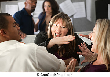 Colleagues Quarrel - Two woman employees quarreling among...