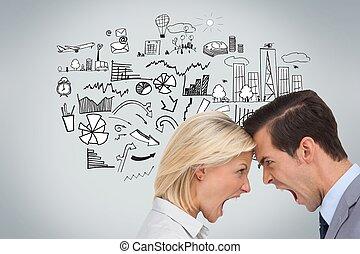 Colleagues quarreling head against head - Composite image of...