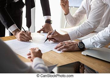 colleagues, statisztika, dolgozó, feláll, együtt, terv, különböző, becsuk