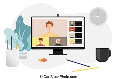Conference video call - Colleagues talk to each other on the...