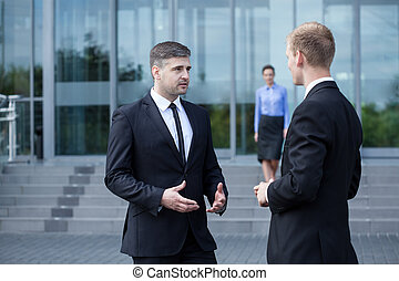 Colleagues talking
