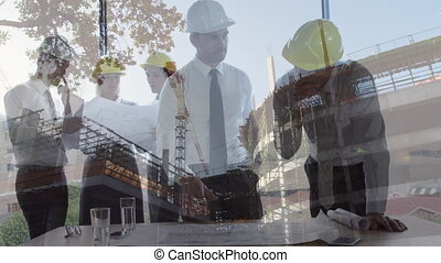 Colleagues worker interacting with a construction site on the background