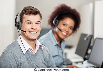 Colleagues Working In Call Center