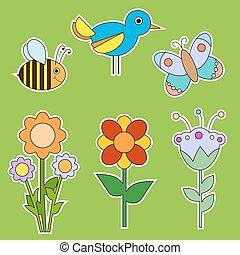 collec, 漂亮, 昆虫, 花, 鸟