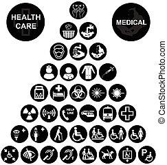 collec, médico, ícone, cuidado saúde