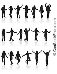 Big collect silhouettes dancing man and women, vector illustration, element for design