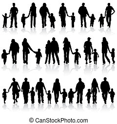Big collect vector silhouettes of parents with children, element for design