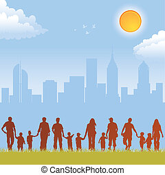 Big collect vector silhouettes of parents with children on urban background, element for design