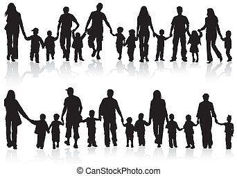 Large Set of Silhouettes of Parents with Children holding Hands, vector illustration