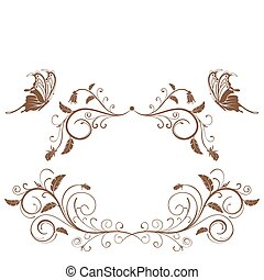 Collect flower border with butterfly, element for design, vector illustration