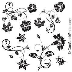 Collect flower border with ladybug, element for design, vector illustration