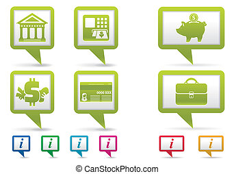 Collect Map Pointers with Financial Business Icons, vector...