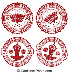 Collect Yoga stamps - Collection grunge Yoga stamps, element...