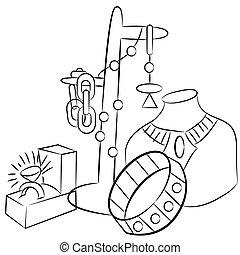 collectable, bijouterie, antiquités, dessin