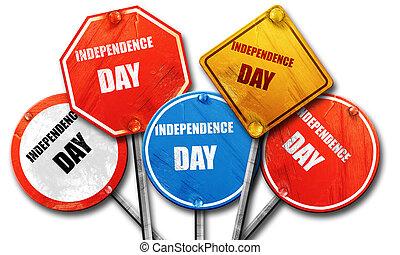 collecti, vertolking, meldingsbord, dag, straat, ruige , 3d, onafhankelijkheid, vrolijke