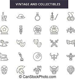 collectibles, áttekintés, állhatatos, szüret, ikonok, illustration:, vector., cégtábla, retro, egyenes, fogalom