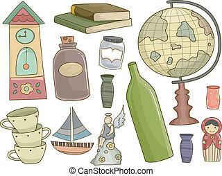 collectibles, elementos, diseño