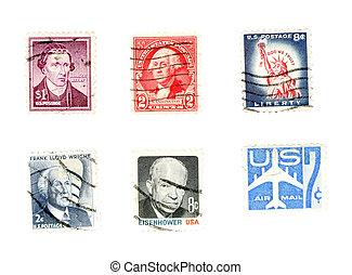 collectibles, viejo, -, nosotros, sellos, poste