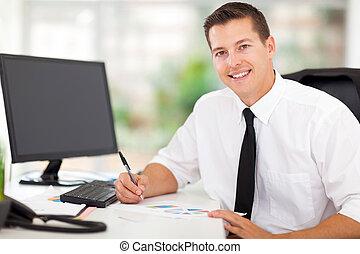 collectief, arbeider, werkende , in, kantoor