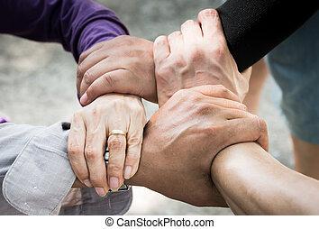 collectief, hand, /teamwork, 4, bijeenkomen, vergadering