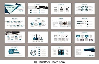 collectief, jaarlijks, presentatie, template., set, flyer, ...