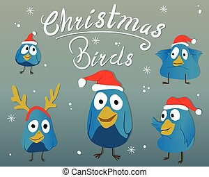 collectief, kerstmis, vogels