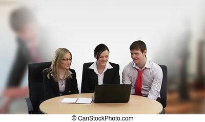 collectief, team, aan het werk aaneen