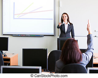 collectief, trainning, -, vrouw, het voorstellen