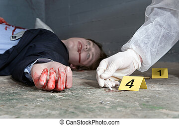 Collecting evidence - Forensic expert collecting evidence at...