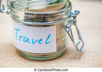 Collecting money for trip or journey.