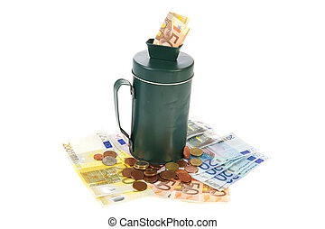 Green collection box with a lot of money