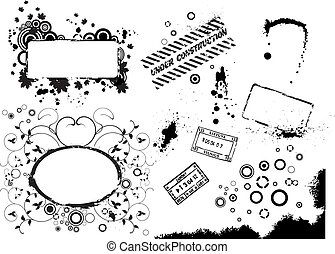 Collectio of vector grunge elements - Set of vector grunge...