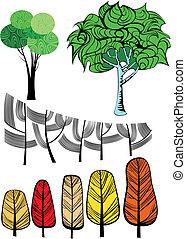 collection., árboles, creativo