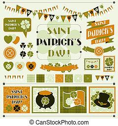 collection, éléments conception, de, saint, patrick's, day.