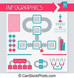 collection., éléments, ensemble, 3., infographics