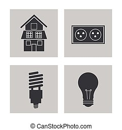 collection, électricité, puissance, énergie, icônes