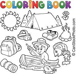 collection, été, extérieur, livre coloration