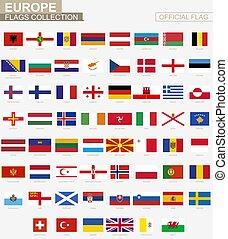 collection., 国民, 役人, 国, 旗, ベクトル, 旗, ヨーロッパ