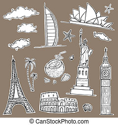 collection., 旅行, ラベル, 観光事業