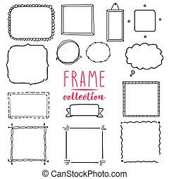 collection., 框架, 花冠, 手, 矢量, 画, set.