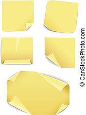 collection., 黄色, 内容, ペーパー, テンプレート, ブランク, ステッカー
