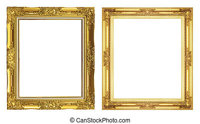collection 2 antique golden frame isolated on white background, clipping path