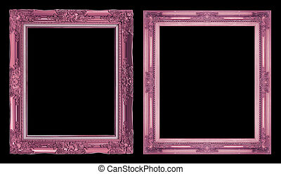collection 2 antique pink frame isolated on black background, clipping path
