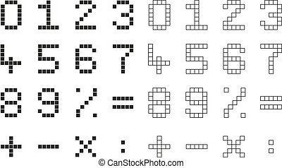 Collection 2 isolated pixel numbers and mathematical signs -...