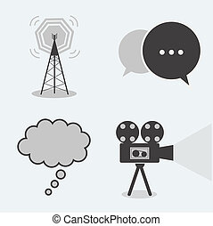 Collection 4 part icon chat, cinema, antenna