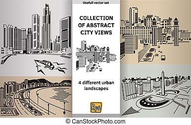 Collection abstract city views landscapes