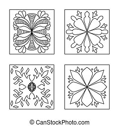 Collection abstract pattern doodle style. Decorative...