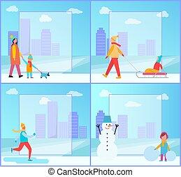 collection, activités, vecteur, hiver, illustration