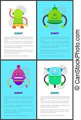 collection, affiche, vecteur, robot, illustration